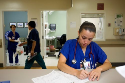 Rujey Rubacalva, a nurse, working in the emergency room at St. Luke's Hospital on July 20. Credit Adithya Sambamurthy/The Bay Citizen